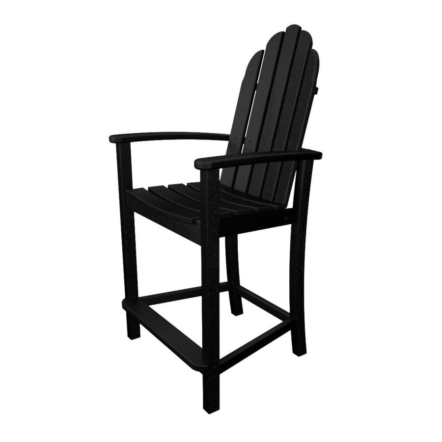 POLYWOOD Classic Adirondack Black Plastic Patio Adirondack Chair