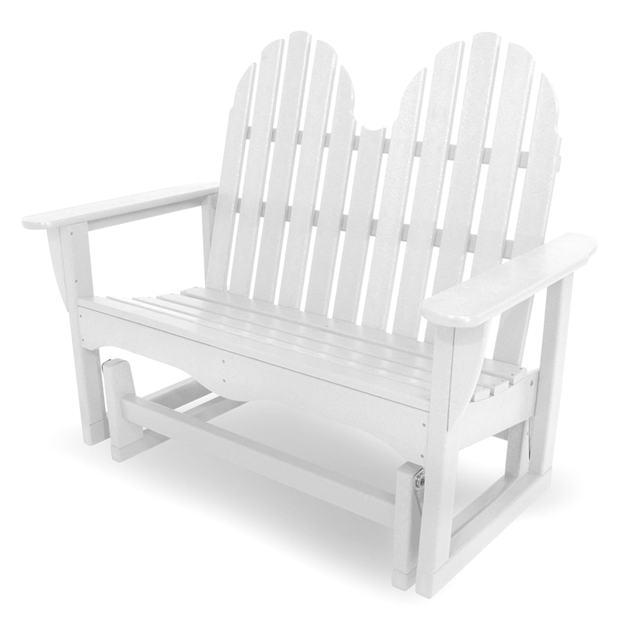 POLYWOOD Classic Adirondack 28-in W x 48.5-in L White Plastic Patio Bench