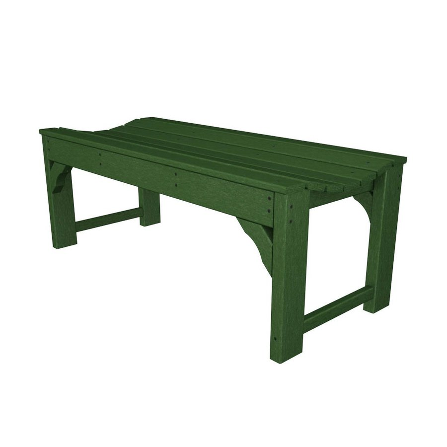 POLYWOOD Traditional Garden 20-in W x 46-in L Green Plastic Patio Bench