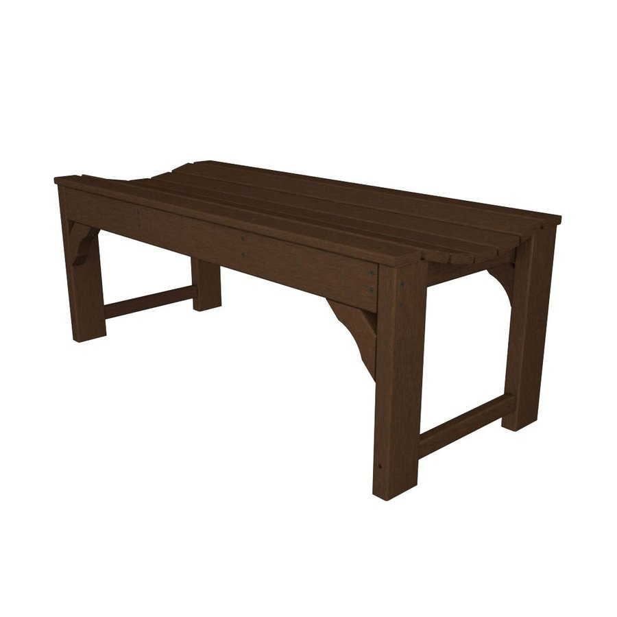 POLYWOOD Traditional Garden 20-in W x 46-in L Mahogany Plastic Patio Bench