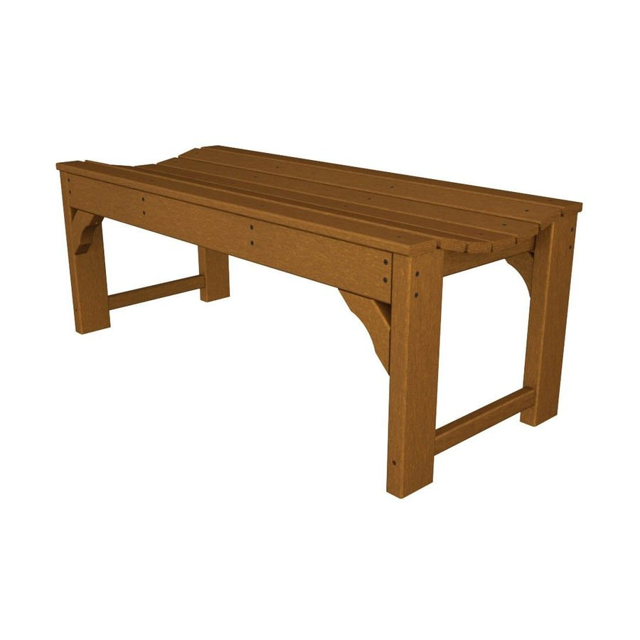 POLYWOOD Traditional Garden 20-in W x 46-in L Teak Plastic Patio Bench