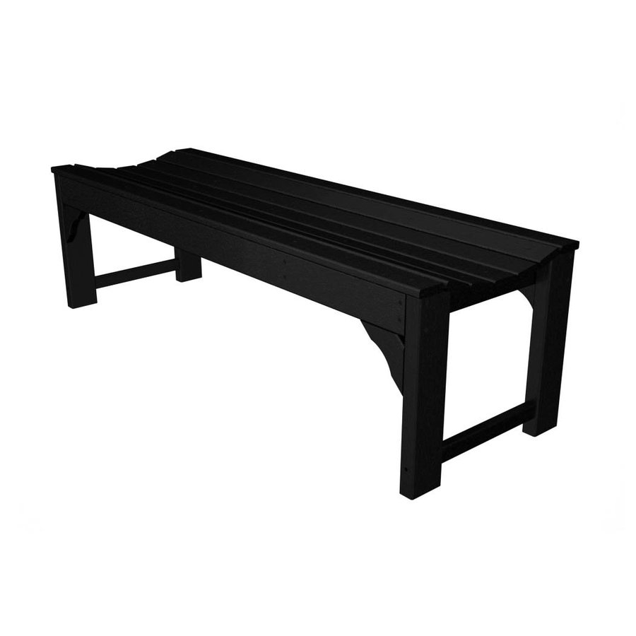 POLYWOOD Traditional Garden 20 In W X 60 In L Black Plastic Patio Bench