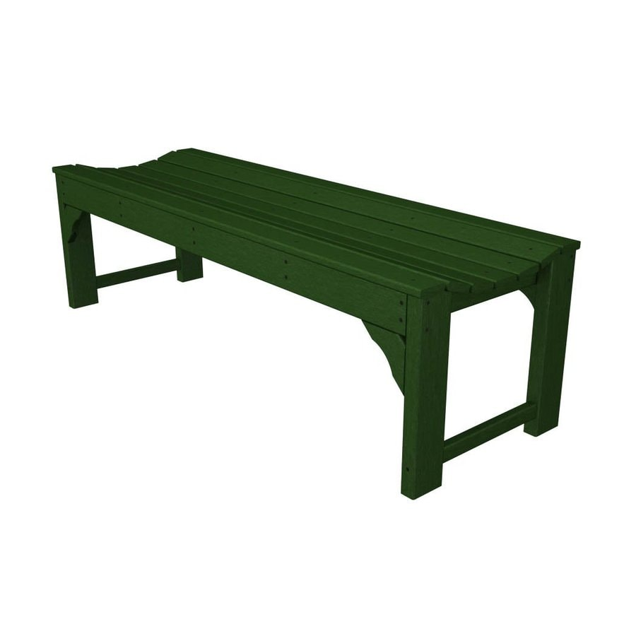 POLYWOOD Traditional Garden 20-in W x 60-in L Green Plastic Patio Bench