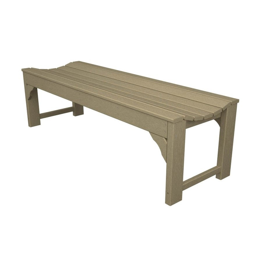 POLYWOOD Traditional Garden 20-in W x 60-in L Sand Plastic Patio Bench