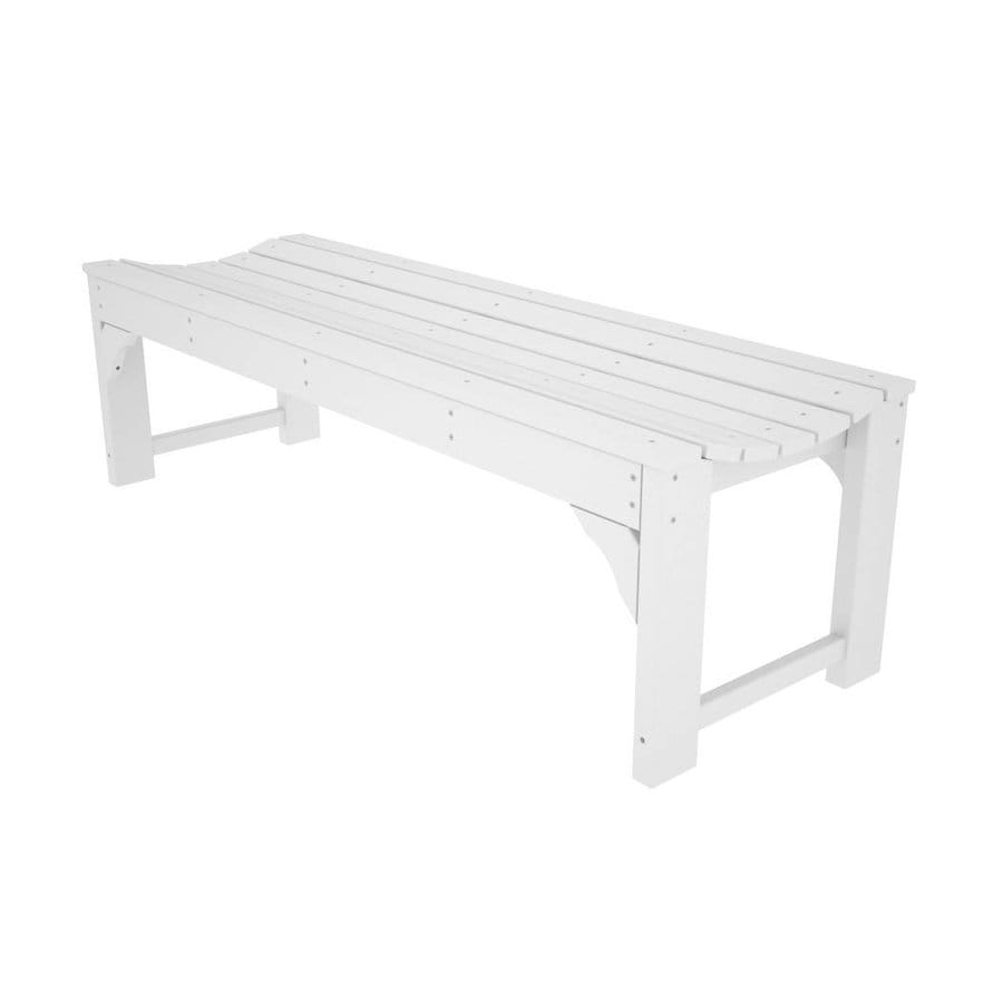 Shop Polywood Traditional Garden 20 In W X 60 In L White Plastic Patio Bench At