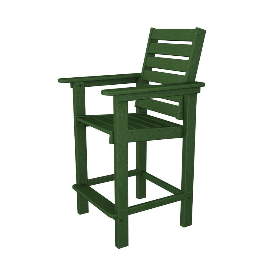 POLYWOOD Captain Green Plastic Patio Barstool Chair