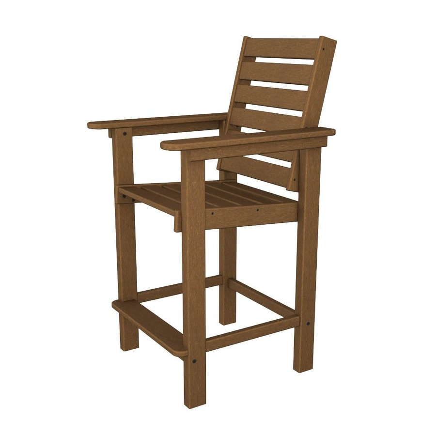 POLYWOOD Captain Teak Plastic Patio Barstool Chair