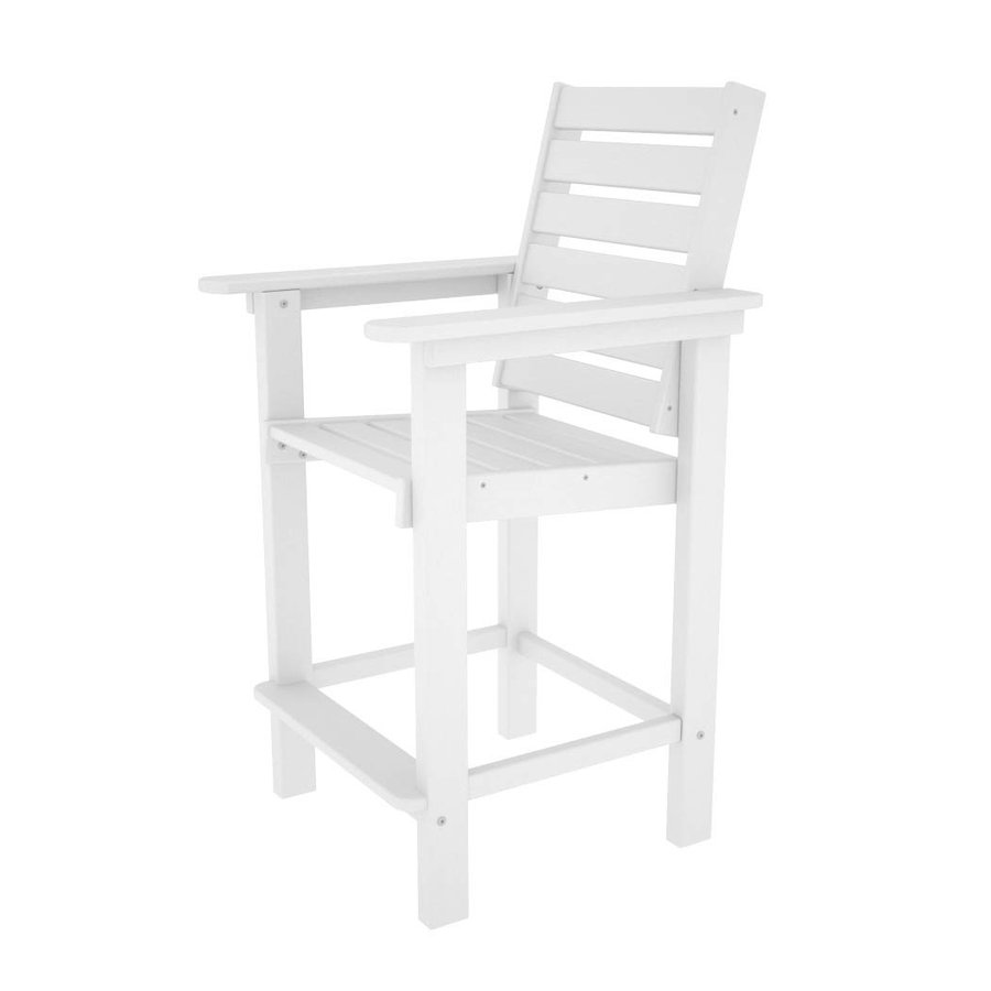 POLYWOOD Captain White Plastic Patio Barstool Chair