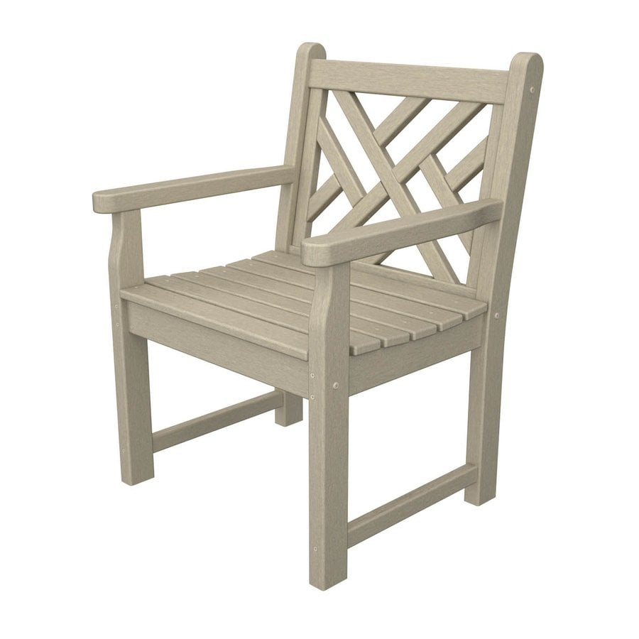 POLYWOOD Chippendale Sand Plastic Patio Conversation Chair