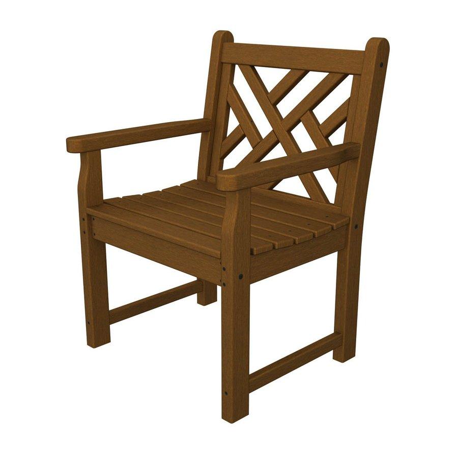POLYWOOD Chippendale Teak Plastic Patio Conversation Chair