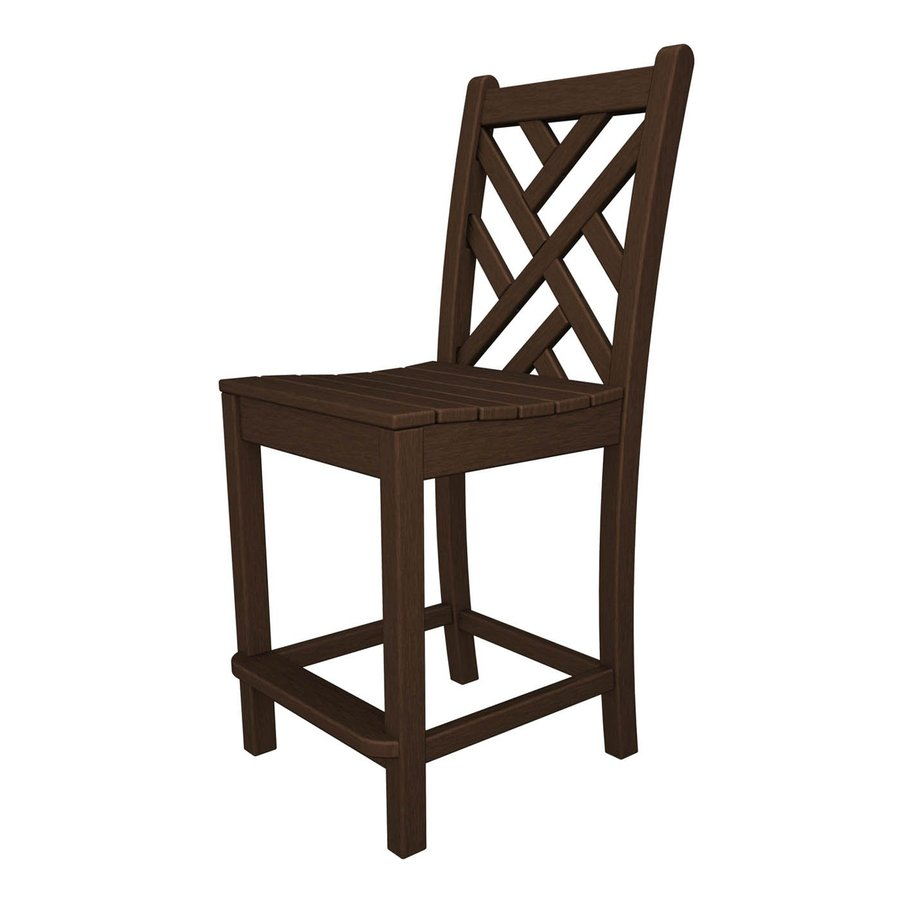 POLYWOOD Chippendale Mahogany Plastic Patio Bar Stool Chair