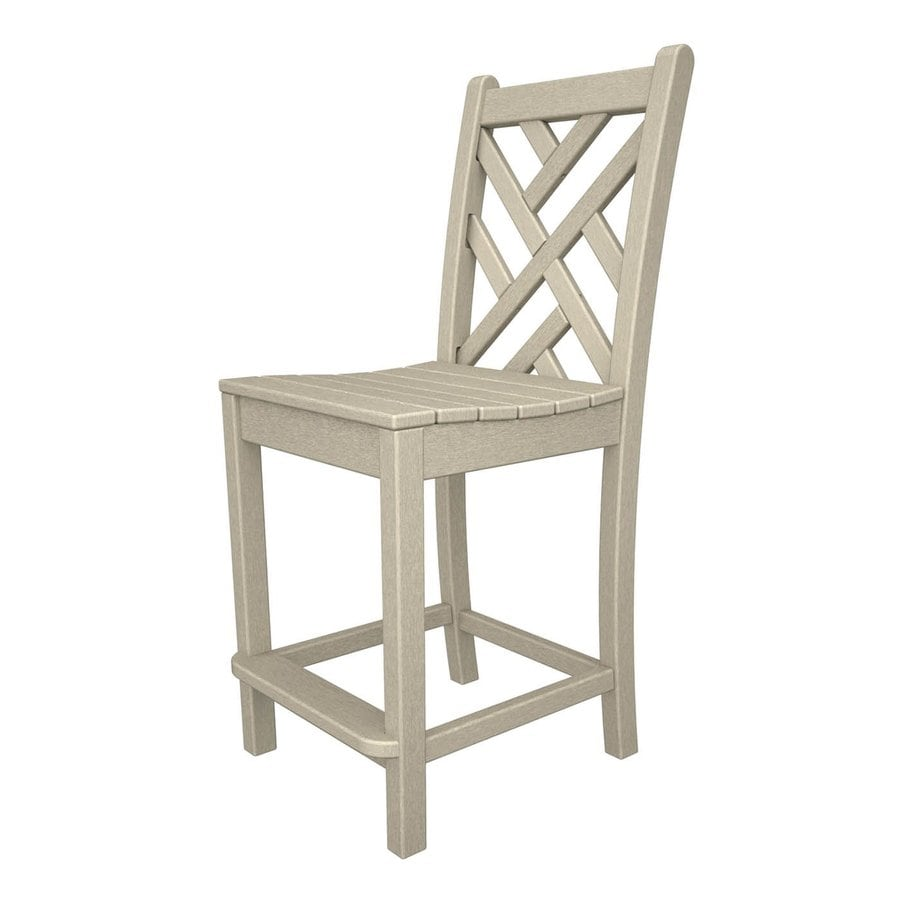 POLYWOOD Chippendale Sand Plastic Patio Barstool Chair