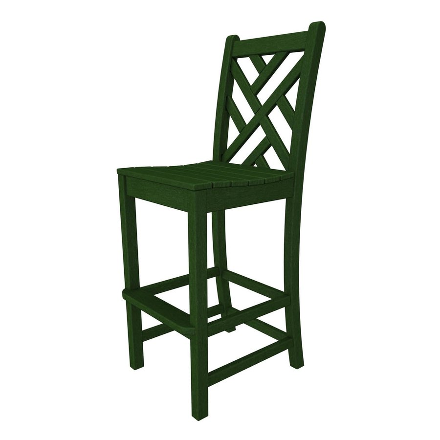 POLYWOOD Chippendale Green Plastic Patio Bar Stool Chair