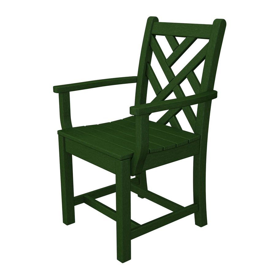 polywood chippendale green plastic patio dining chair at
