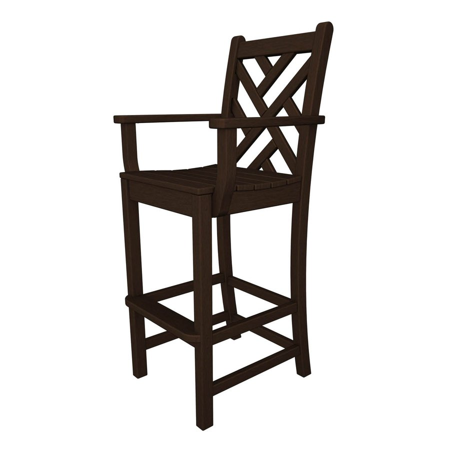 POLYWOOD Chippendale Mahogany Plastic Patio Barstool Chair