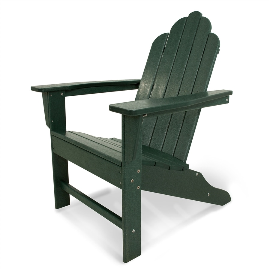 Shop Polywood Long Island Green Plastic Adirondack Chair