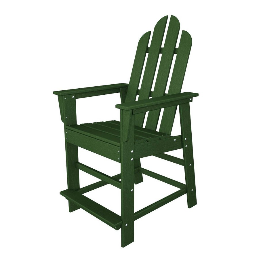 POLYWOOD Long Island Green Plastic Patio Barstool Chair