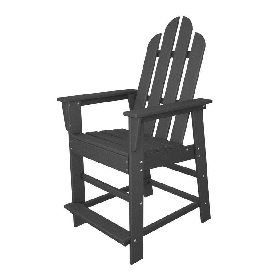 POLYWOOD Long Island Slate Grey Plastic Patio Barstool Chair