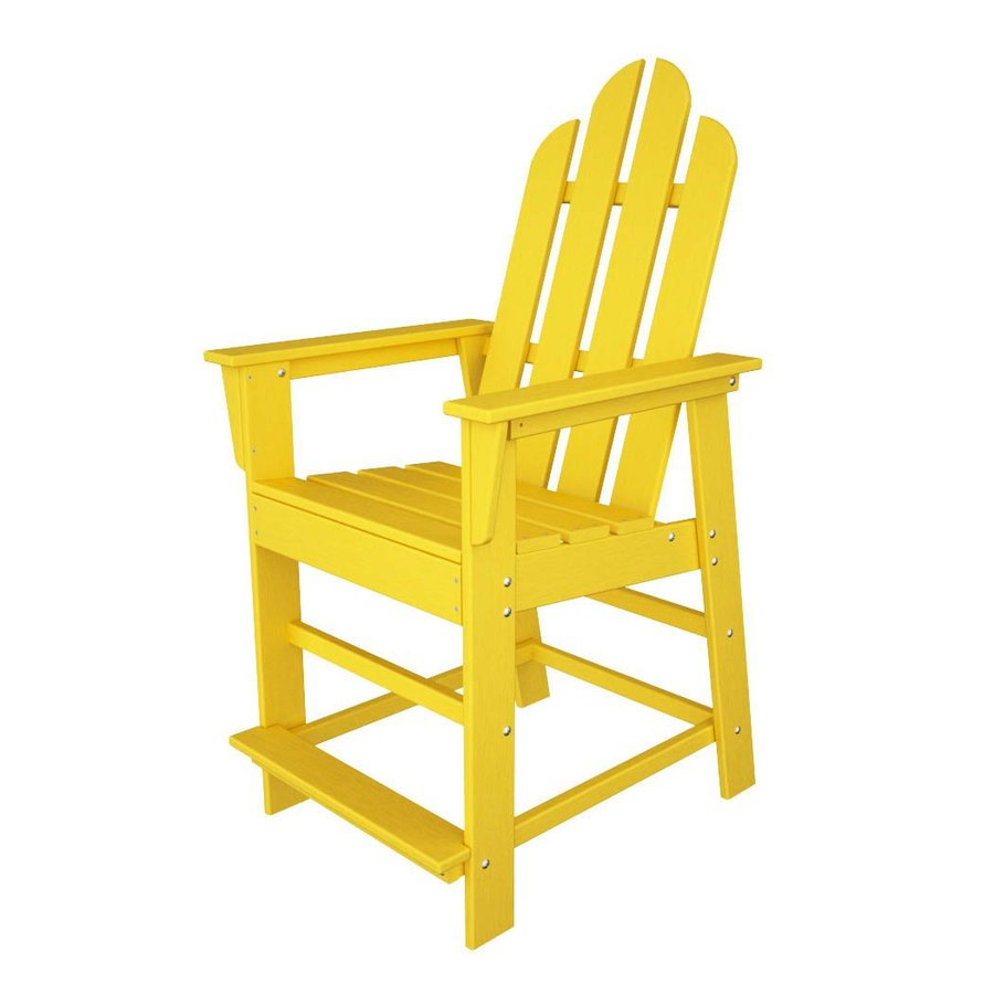 POLYWOOD Long Island Lemon Plastic Patio Barstool Chair