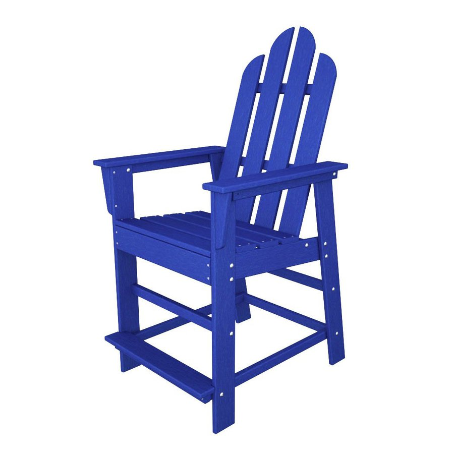 POLYWOOD Long Island Pacific Blue Plastic Patio Bar Stool Chair
