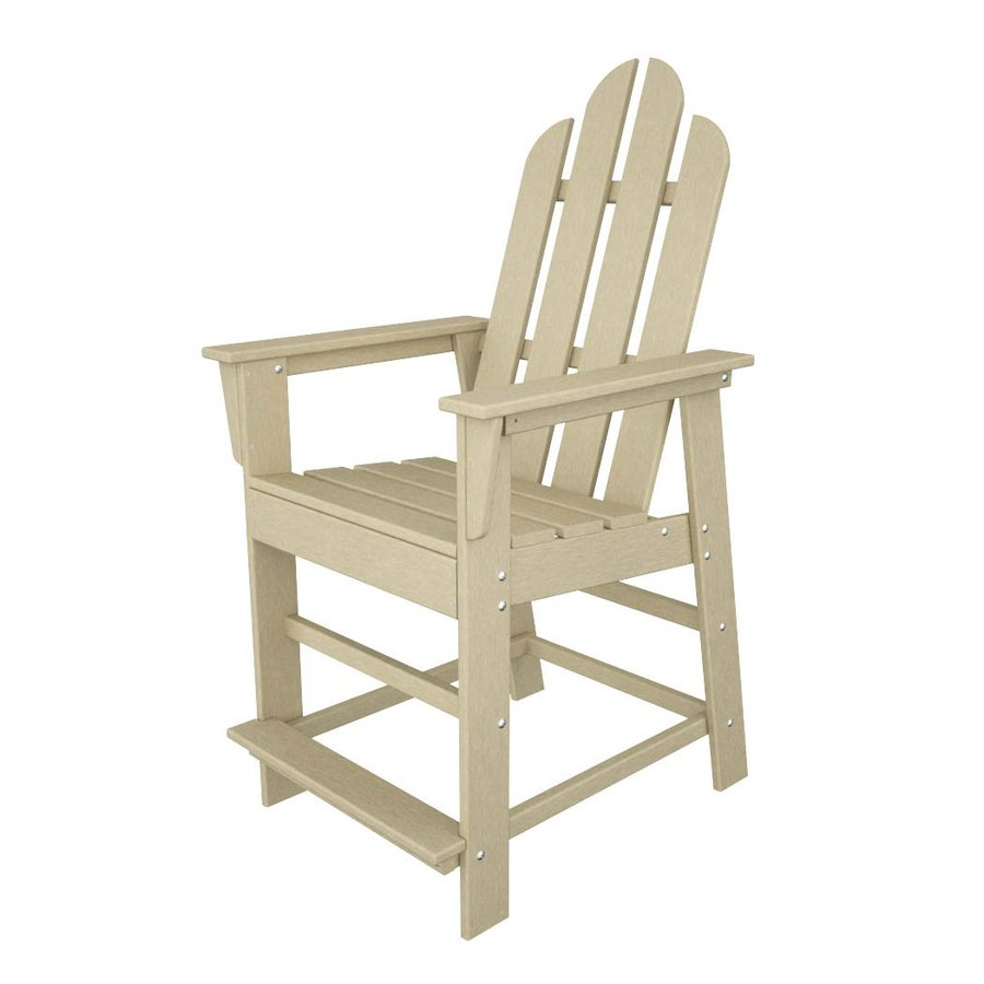 POLYWOOD Long Island Sand Plastic Patio Bar Stool Chair