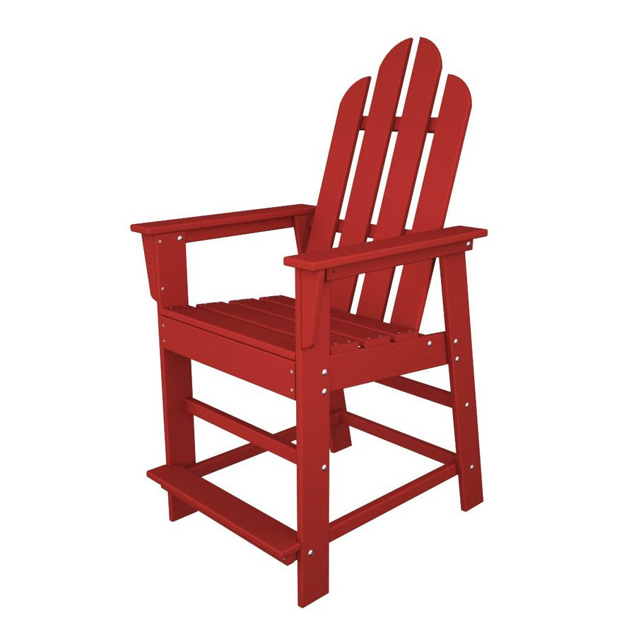 POLYWOOD Long Island Sunset Red Plastic Patio Barstool Chair