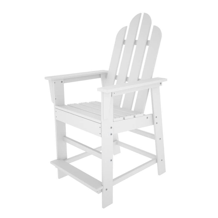 POLYWOOD Long Island White Plastic Patio Bar Stool Chair