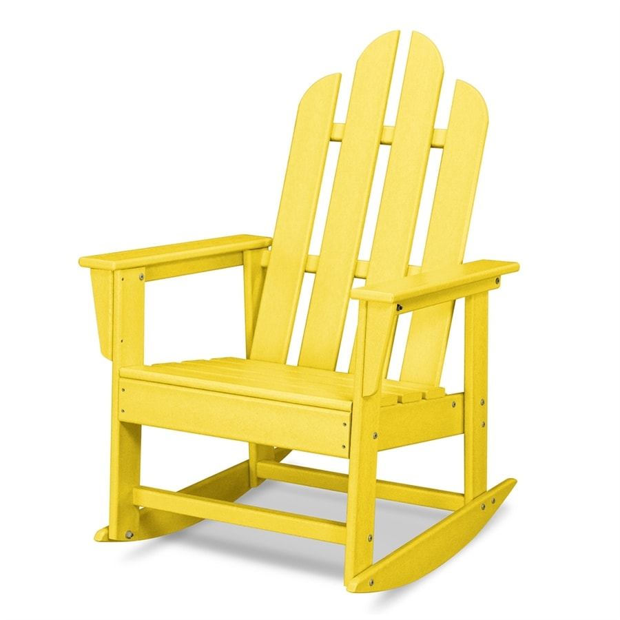 shop polywood long island lemon plastic patio rocking chair at. Black Bedroom Furniture Sets. Home Design Ideas