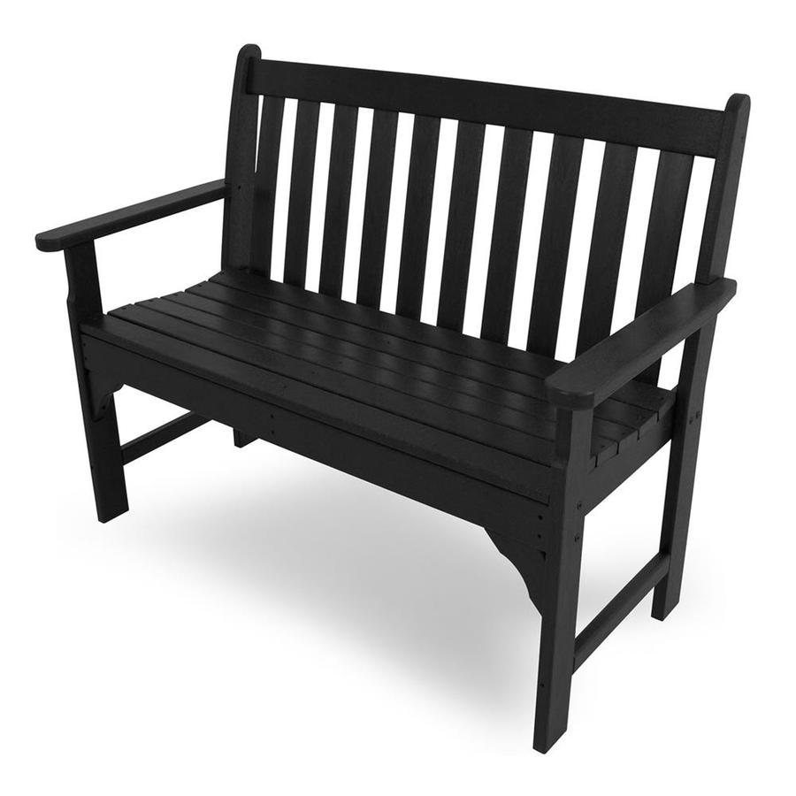 POLYWOOD Vineyard 24-in W x 48.5-in L Black Plastic Patio Bench