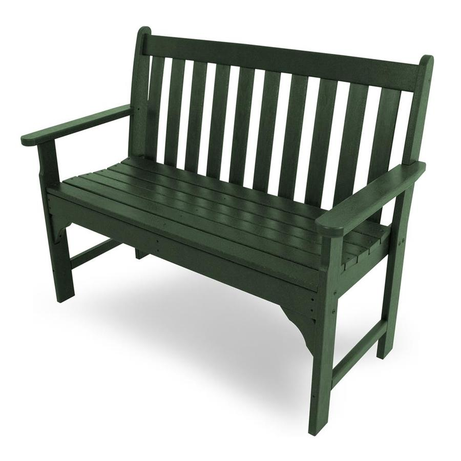 POLYWOOD Vineyard 24-in W x 48.5-in L Green Plastic Patio Bench