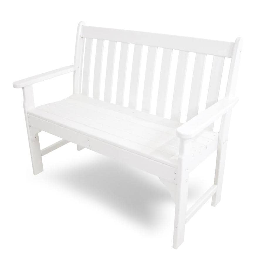 Shop Polywood Vineyard 24 In W X 48 5 In L White Plastic Patio Bench At