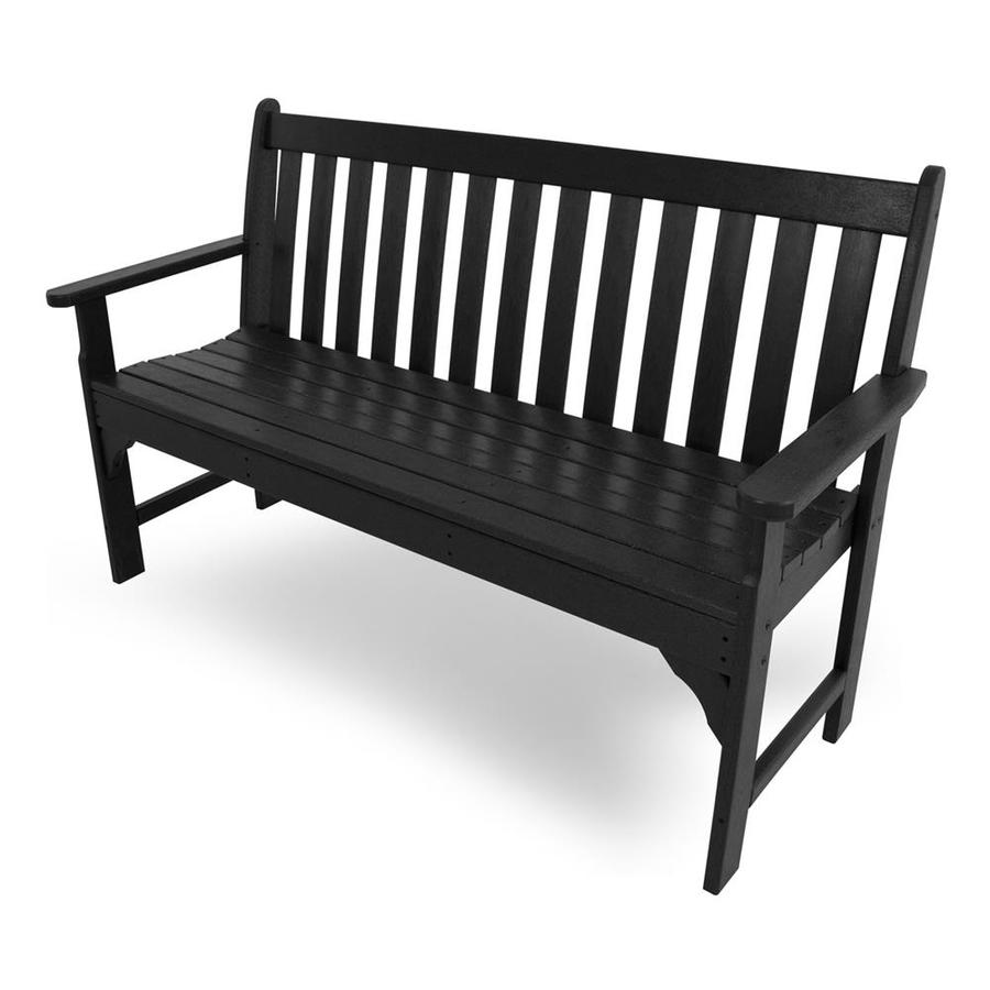 Shop Polywood Vineyard 24 In W X 60 5 In L Black Plastic Patio Bench At