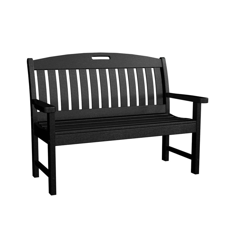 POLYWOOD Nautical 25-in W x 51.75-in L Black Plastic Patio Bench