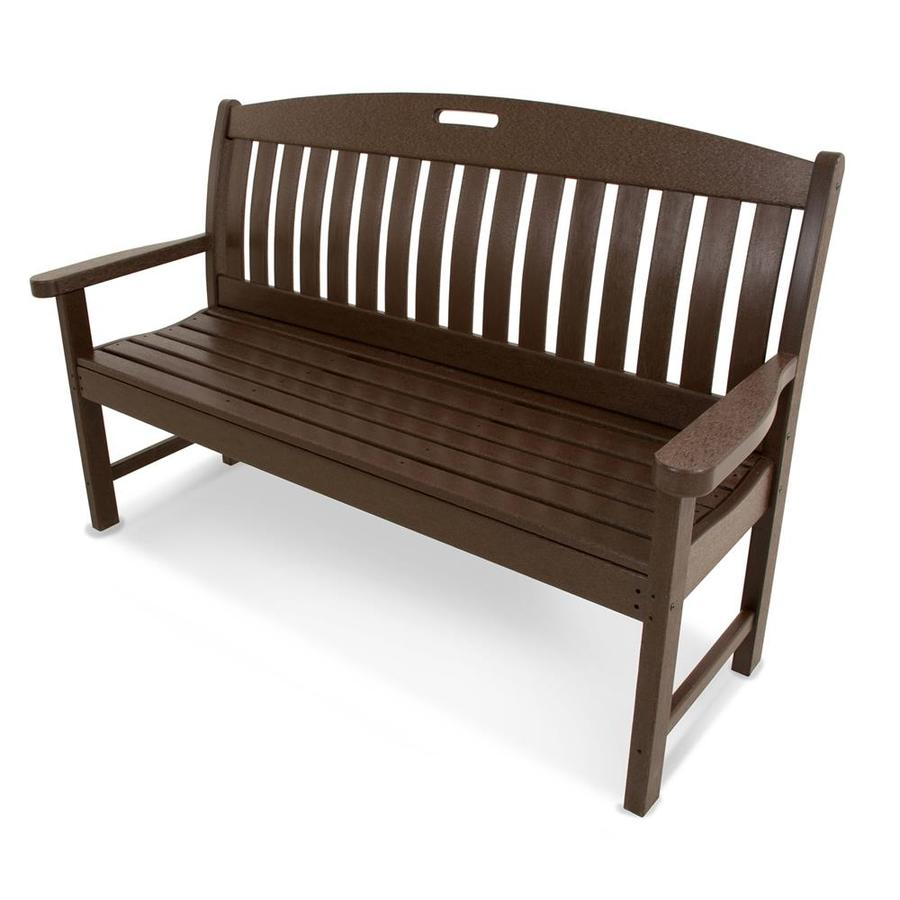 Shop Polywood Nautical 25 In W X L Mahogany Plastic Patio Bench At