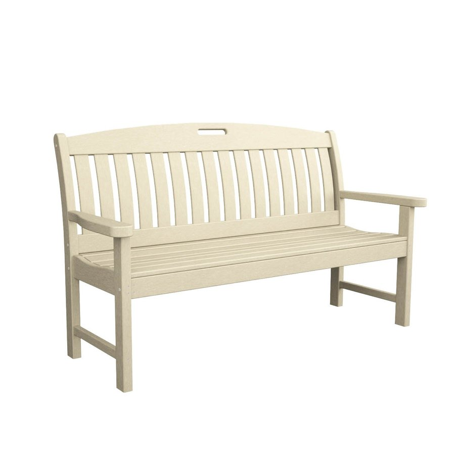 POLYWOOD Nautical 25-in W x 63.75-in L Sand Plastic Patio Bench