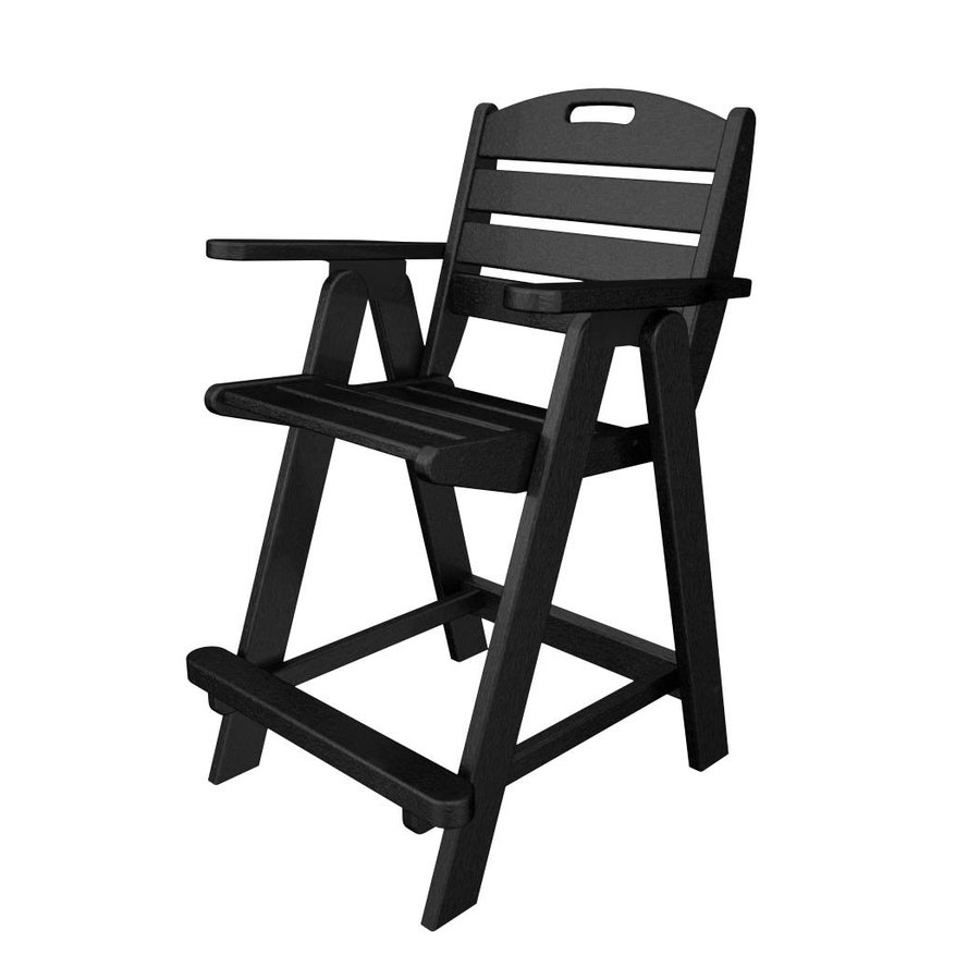 POLYWOOD Nautical Black Plastic Patio Barstool Chair