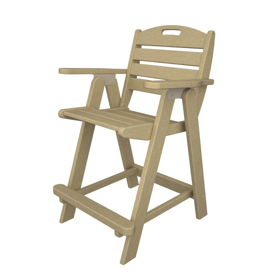 POLYWOOD Nautical Sand Plastic Patio Barstool Chair