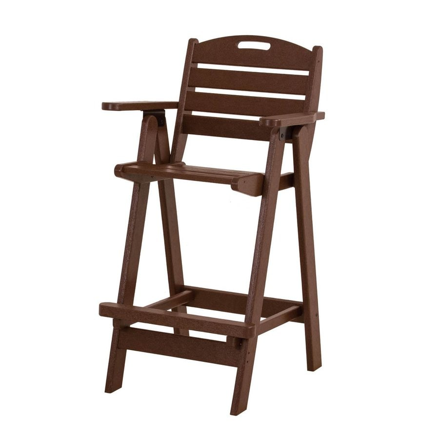 POLYWOOD Nautical Mahogany Plastic Patio Barstool Chair