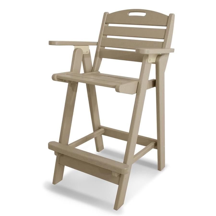 POLYWOOD Nautical Sand Plastic Patio Barstool Chair