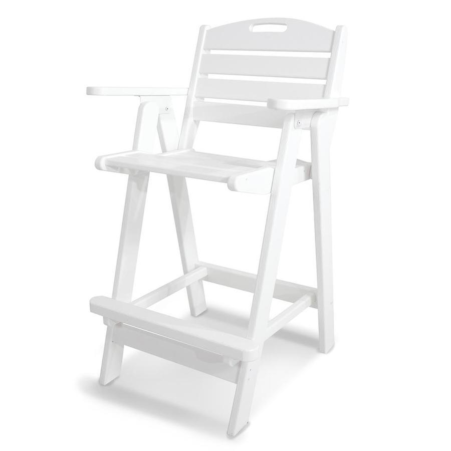POLYWOOD Nautical White Plastic Patio Barstool Chair
