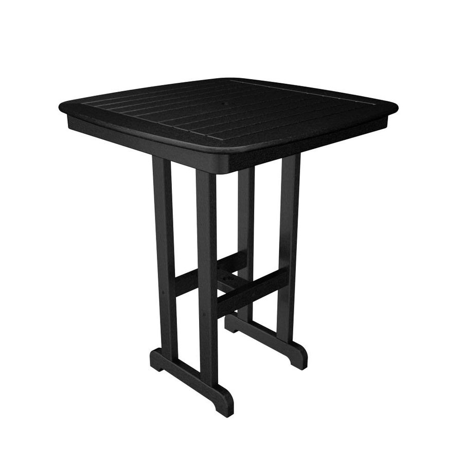 POLYWOOD Nautical 36.75-in W x 36.75-in L Square Plastic Bar Table