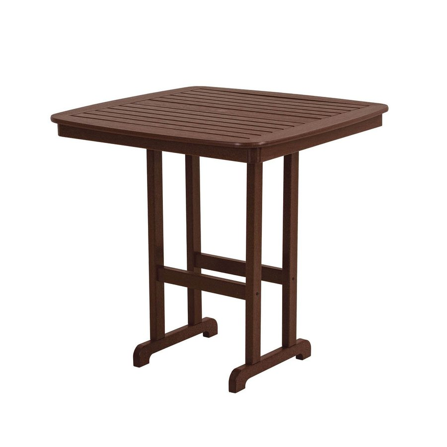 POLYWOOD Nautical 42.5-in W x 42.5-in L Square Plastic Bar Table