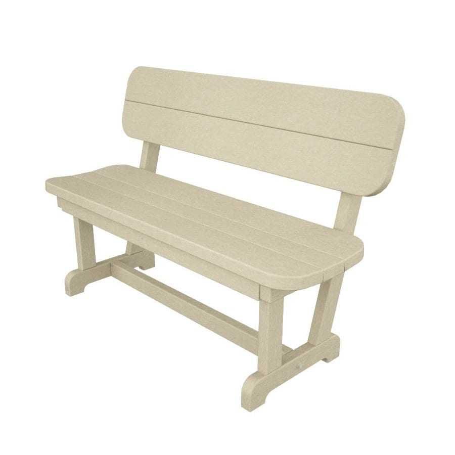 POLYWOOD Park 20.5-in W x 48-in L Sand Plastic Patio Bench