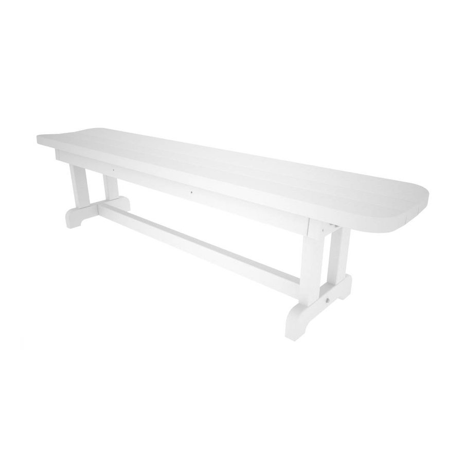 POLYWOOD Park 14.5-in W x 70-in L White Plastic Patio Bench