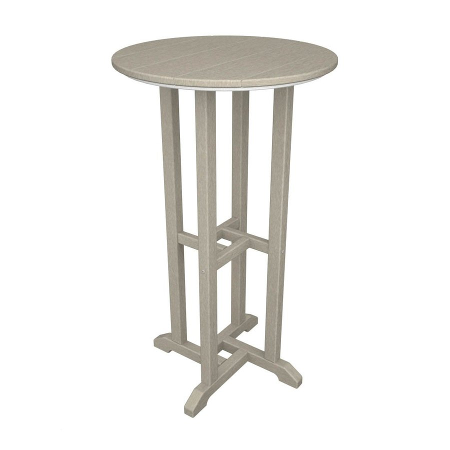 POLYWOOD 24-in W x 24-in L Round Plastic Bar Table