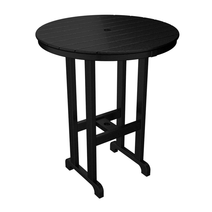 POLYWOOD La Casa Cafe 35.12-in W x 35.12-in L Round Plastic Bar Table