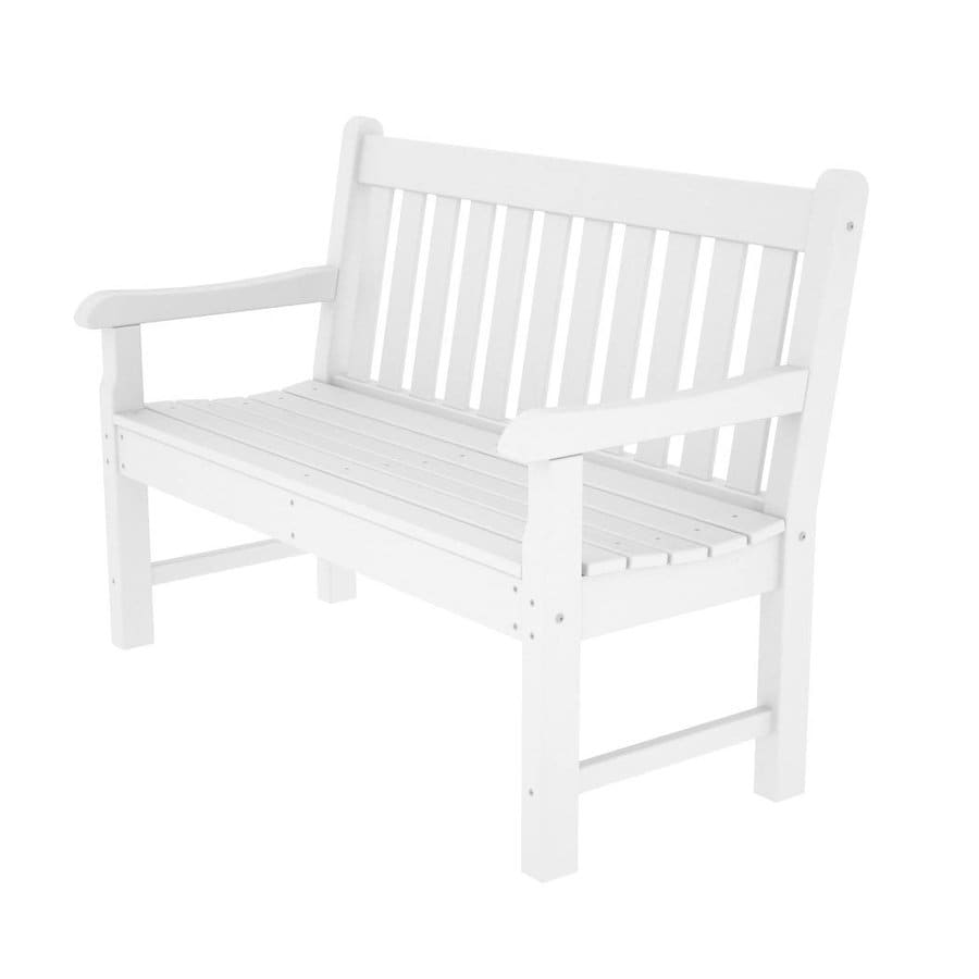 POLYWOOD Rockford 24-in W x 48-in L White Plastic Patio Bench