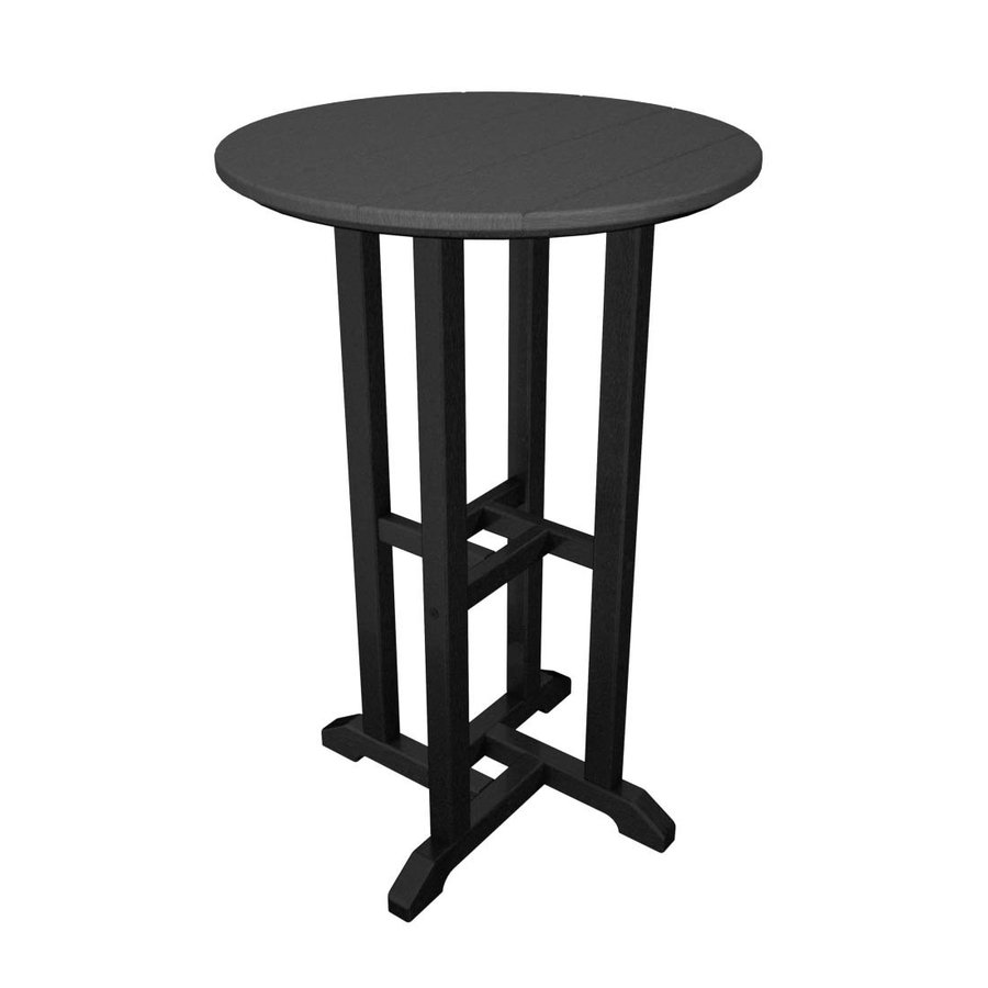 POLYWOOD Contempo 24-in W x 24-in L Round Plastic Bar Table