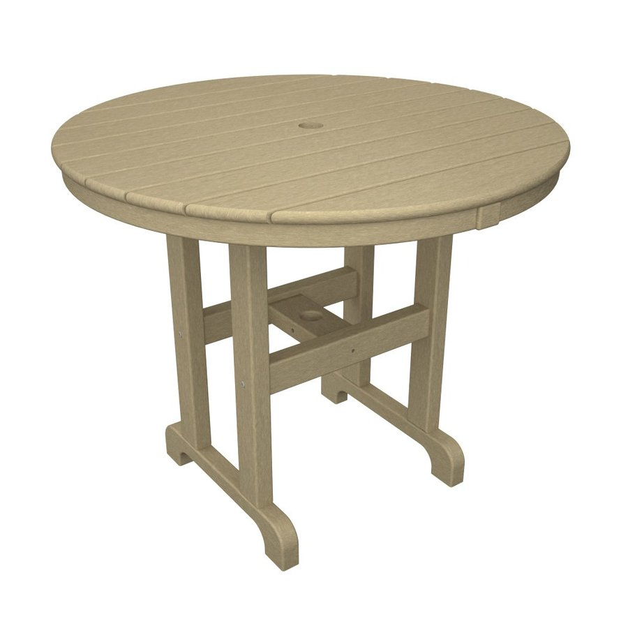 POLYWOOD La Casa Cafe 35.12-in W x 35.12-in L Round Plastic Dining Table