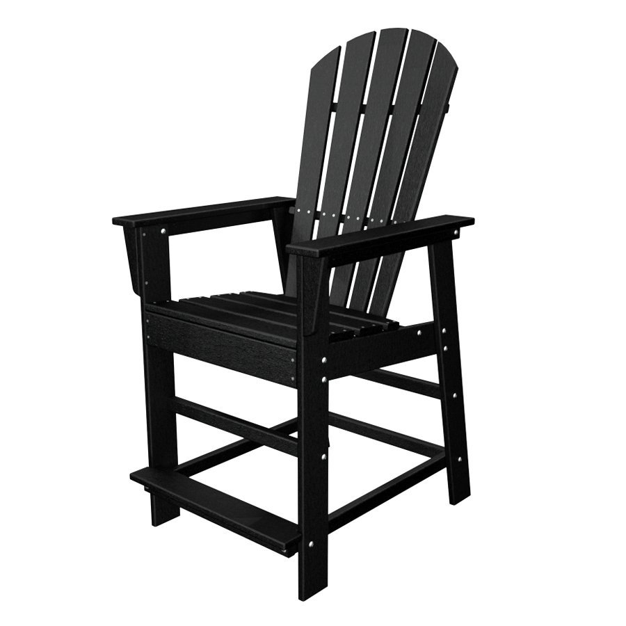 POLYWOOD South Beach Black Plastic Patio Barstool Chair